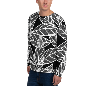 White Leaves on Black | Unisex Sweatshirt