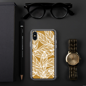 White Leaves on Gold | iPhone Case