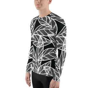 White Leaves on Black | Men's Rash Guard