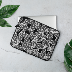 White Leaves on Black | Laptop Sleeve