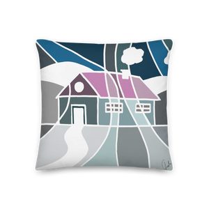 Pastel Winter House | Pillow