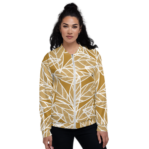 White Leaves on Gold | Bomber Jacket