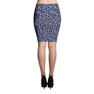 White small flowers | Pencil Skirt