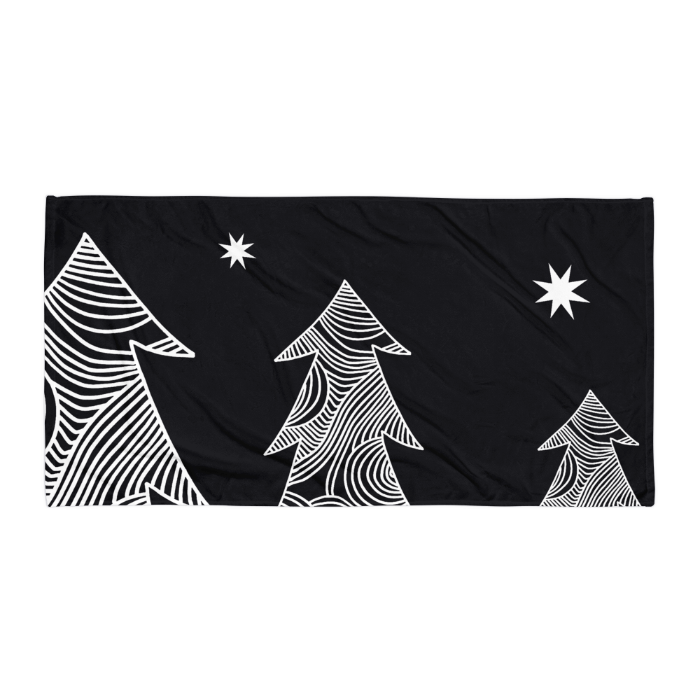 Stars and Trees Black | Towel