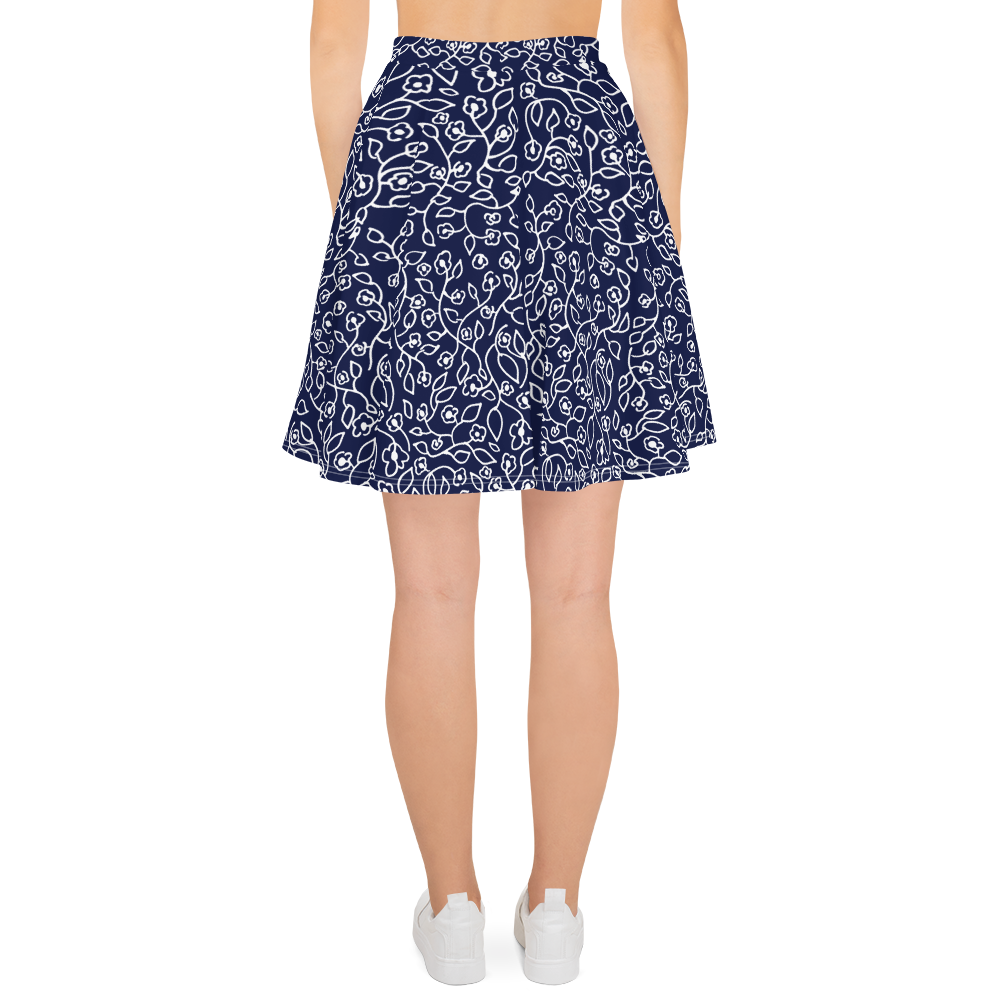 White small flowers | Skater Skirt