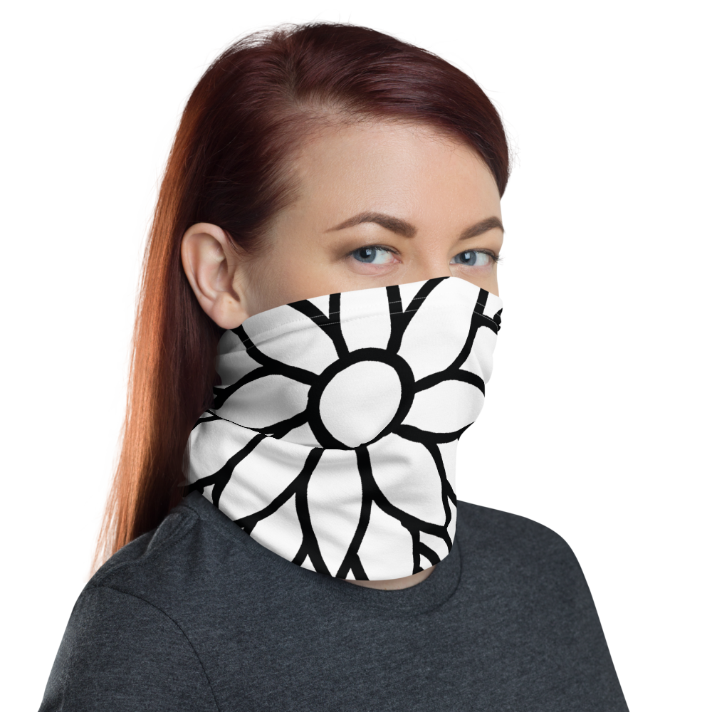 Black And White Flower Ornament | Neck Gaiter