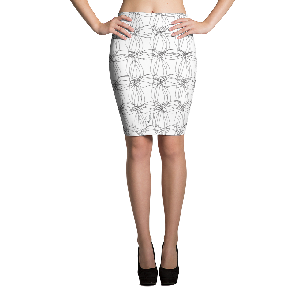 Ornament Graphic Flowers | Pencil Skirt