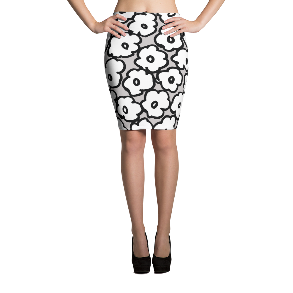 Happy White Flowers | Pencil Skirt