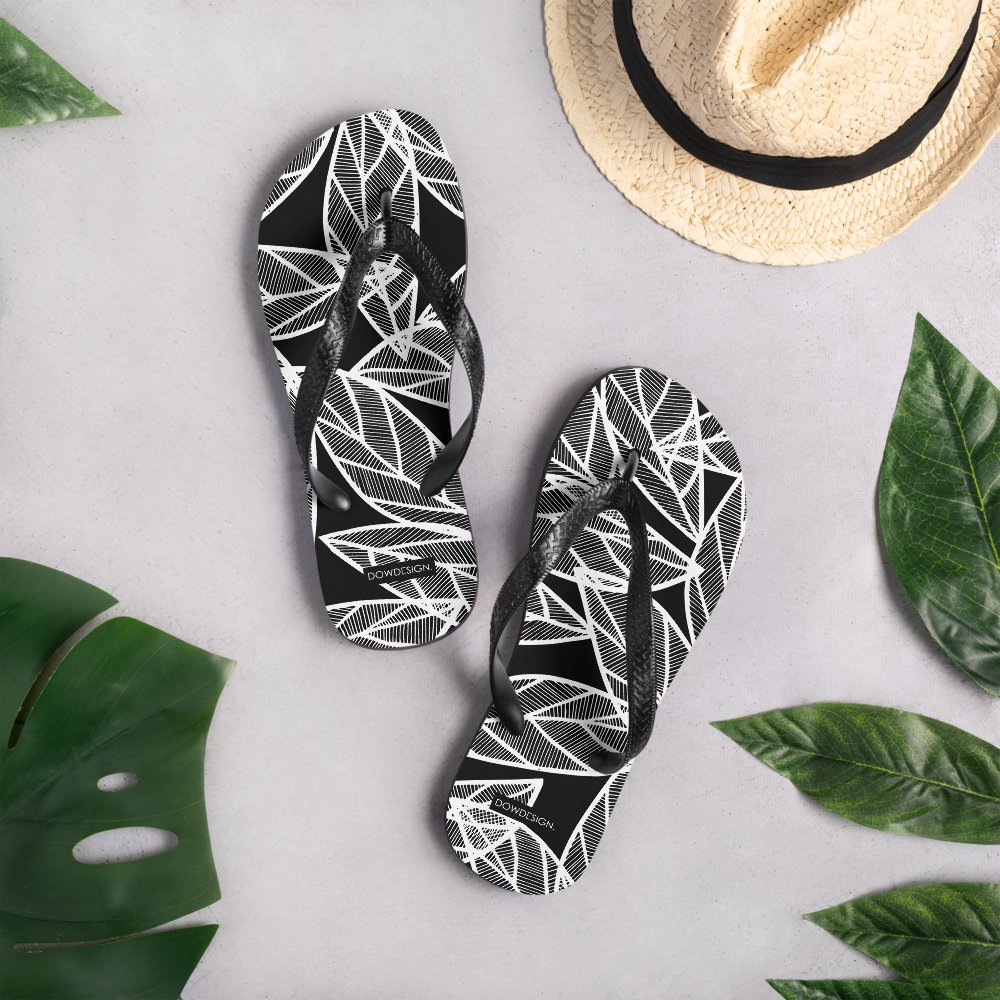 White Leaves on Black | Flip-Flops