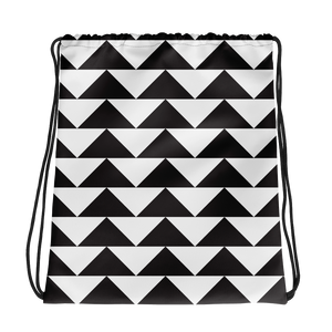 Black and White Triangles | Drawstring Bag