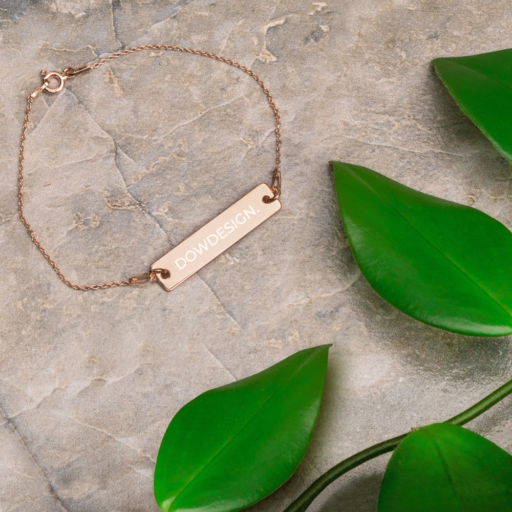 DOWDESIGN. | Engraved Silver Bar Chain Bracelet