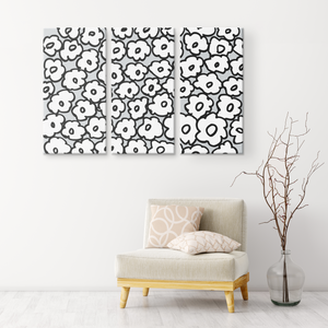 Happy White Flowers | 3 Piece Canvas