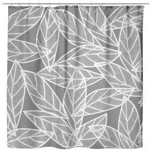 Messy White Leaves | Cloth Shower Curtain