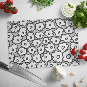 Happy White Flowers | Glass Cutting Board