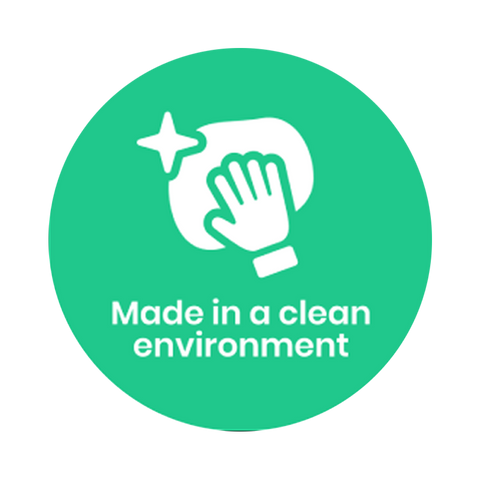 """Made in a clean environment"" COVID-19 Vinyl Decal (2"")"