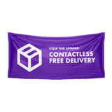 """Contactless Free Delivery"" Social Distancing Vinyl Banner"