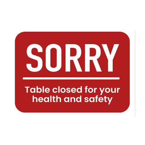 """Sorry Table Closed"" COVID-19 Vinyl Decal (7"" x 5"")"