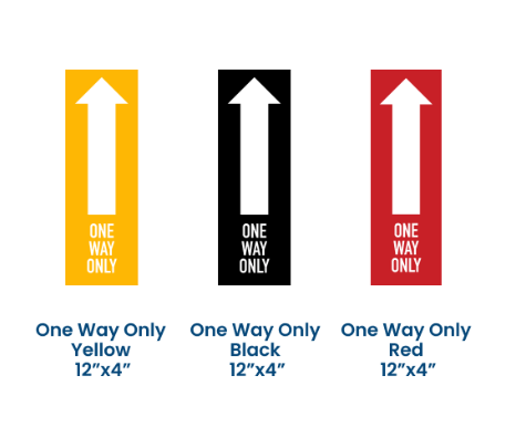 """ONE WAY ONLY"" ARROW COVID-19 SOCIAL DISTANCING VINYL FLOOR GRAPHICS (12"" x 4"")"