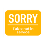 """Sorry Table Not In Service"" COVID-19 Vinyl Decal (7"" x 5"")"