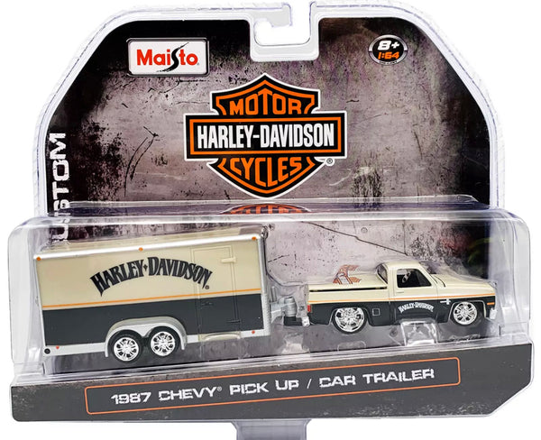 Maisto 1:64 Harley Davidson 1987 Chevrolet Pickup & Car Trailer Silver 15363 HD2