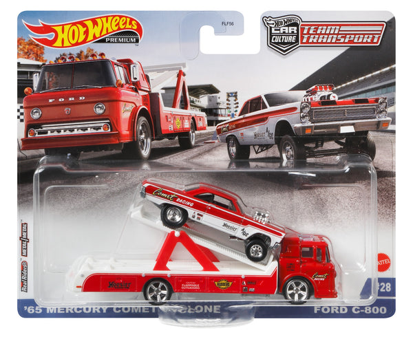 Hot Wheels '65 Mercury Comet Cyclone Gasser with Ford C-800 Transporter