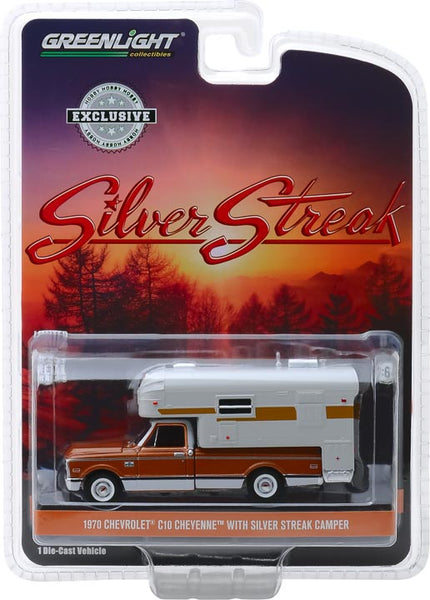 Greenlight 1:64 1970 Chevrolet C-10 Cheyenne with Silver Streak Camper (Hobby Exclusive)