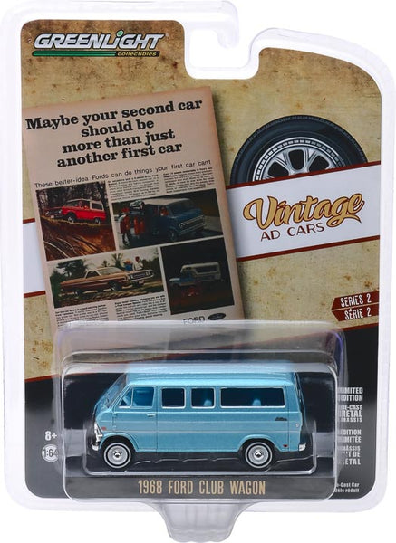 "Greenlight 1:64 Vintage Ad Cars Series 2 - 1968 Ford Club Wagon ""Maybe Your Second Car Should Be More Than Just Another First Car"
