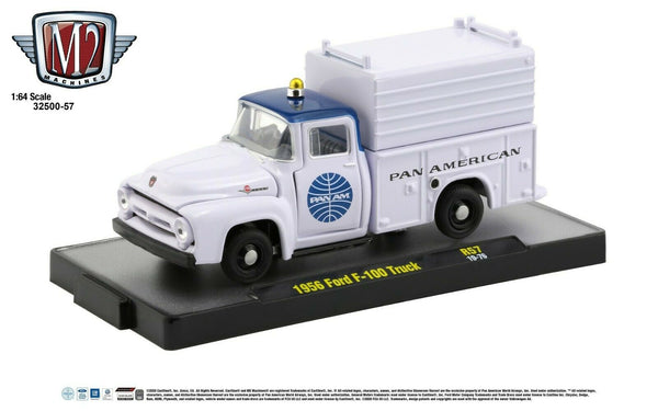 1:64 M2 Machines *PAN AM* R57* White 1956 Ford F-100 Utility Truck