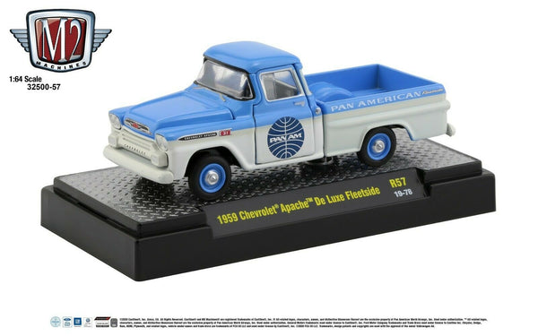 1:64 M2 Machines *PAN AM* R57* Blue & White 1959 Chevrolet Apache Fleetside