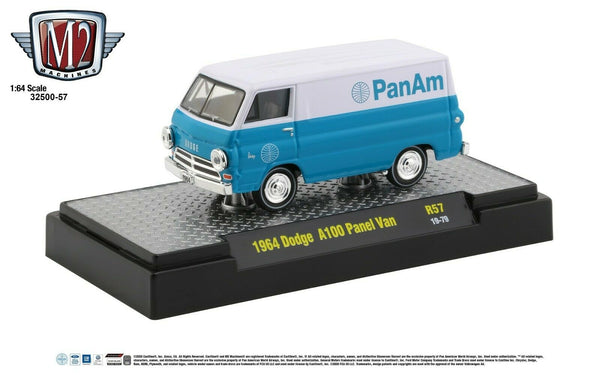 1:64 M2 Machines *PAN AM* R57* Teal & White 1964 Dodge A100 Panel Va
