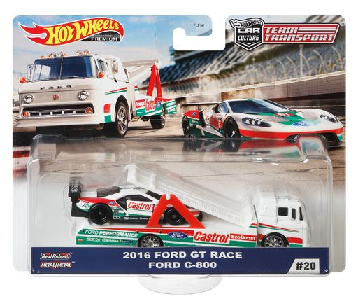 Hotwheels Team Transport 2016 Ford GT Race & Ford C-800