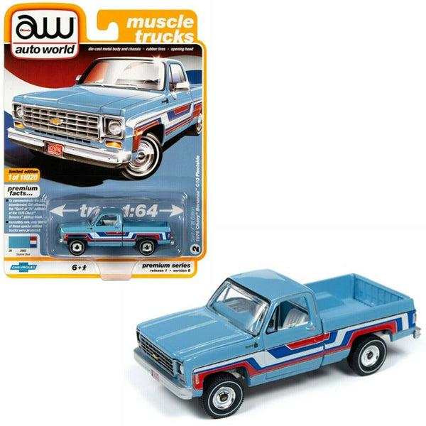 Auto World 1:64 1976 Skyline Blue Chevy Bonanza C10 Fleetside Pickup AWSP034B