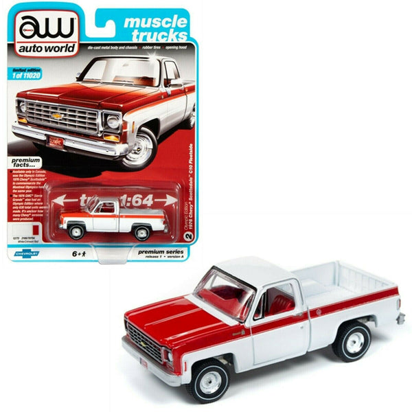 Auto World 1:64 1976 White/Crim.Red Chevy Bonanza C10 Fleetside Pickup AWSP034A