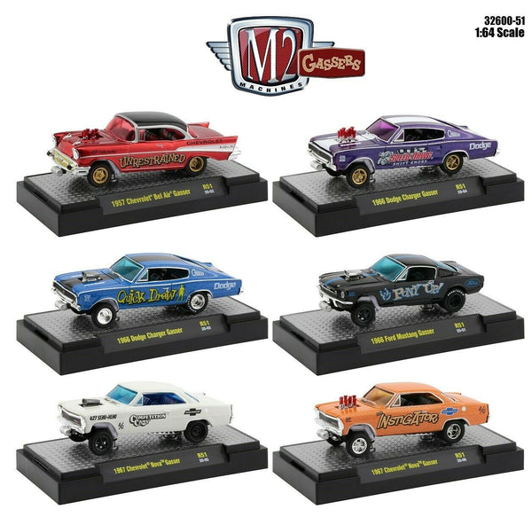 M2 Machines 32600-51 Gassers Series Set of 6 Chevy Ford Dodg