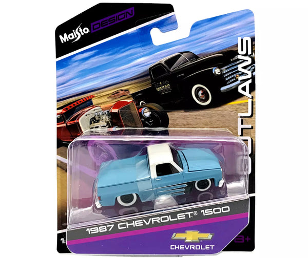 Maisto 1:64 Outlaws 1987 Chevrolet 1500 Pickup Truck (Light Blue) Diecasts