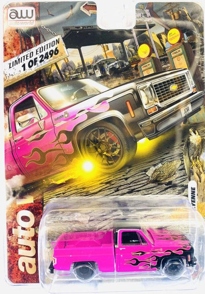 Auto World Exclusive 1976 C10 Pink W/Black Flames Clean