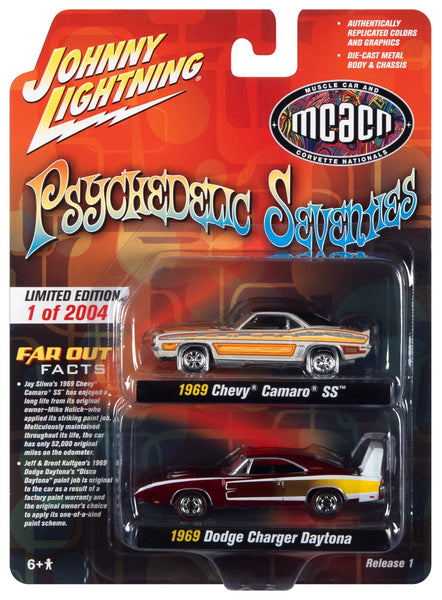 JOHNNY LIGHTNING PSYCHEDELIC SEVENTIES 2021 RELEASE 1 (2-PACK) 1:64 SCALE DIECAST