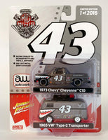 Autoworld & Johnny Lightning MgMinis Exclusive 2 Pack Auto World and Johnny Lightning Chevy Cheyenne C10 with VW Bus