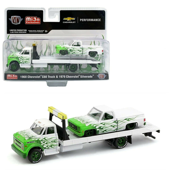 MIJO M2 Machines 1:64 - 1976 Chevy C60 With 1979 Chevy Silverado w/ Green Flames