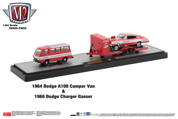 M2 Dodge A100 Camper Van 1964 and Charger Gasser 1966 Coca Cola 1/64