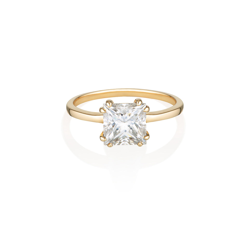 Square Moissanite Ring | 14k Solid