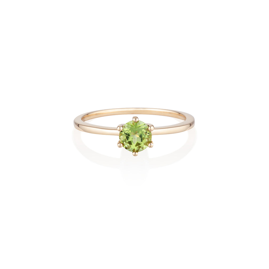 Round Peridot Ring | 14k Solid