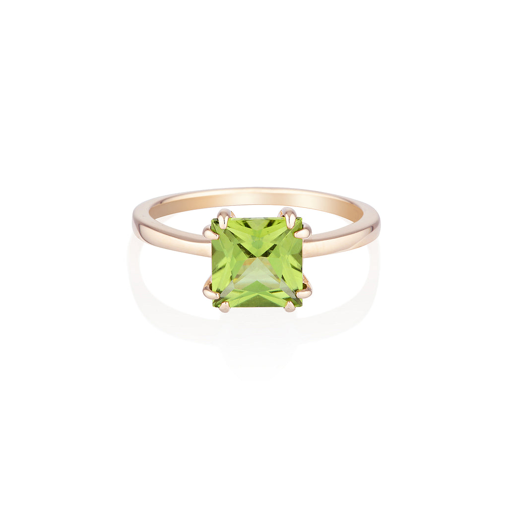 Square Peridot Ring | 14k Solid