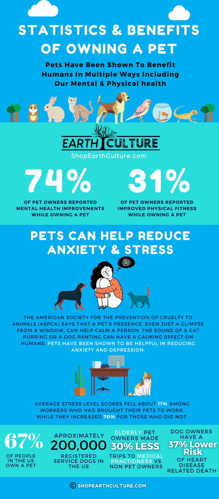 Pet Owner Statistics - Benefits Of Owning A Pet - Do Pets Help Reduce Anxiety - Are Pets Good For Depression - Pets And Mental Health Infographic