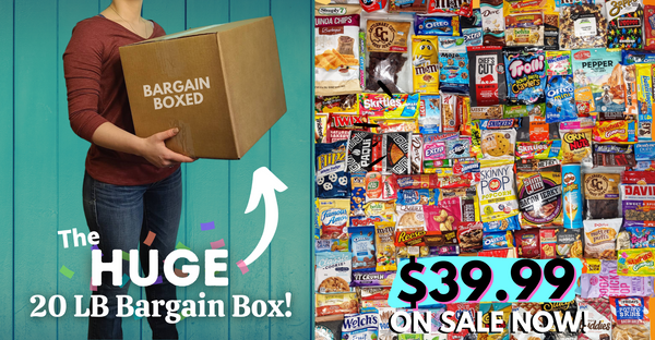 Discounted box of cheap candies and cheap snack foods