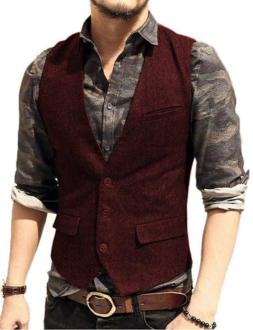 Gilet de Costume Bordeaux - Herringbone Tweed | Vintage Lifestyle