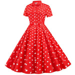 Robe Rockabilly Rouge à Pois Blanc  - Michelle