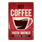 "Plaque Métal Vintage Café - ""Hot Coffee, Fresh Brewed"""