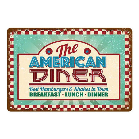 "Plaque Métal Vintage USA - ""The American Diner"""