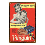 "Plaque Métal Vintage USA - ""Chocolate Penguin"""